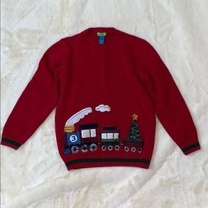 Kids red Christmas train sweater polar express